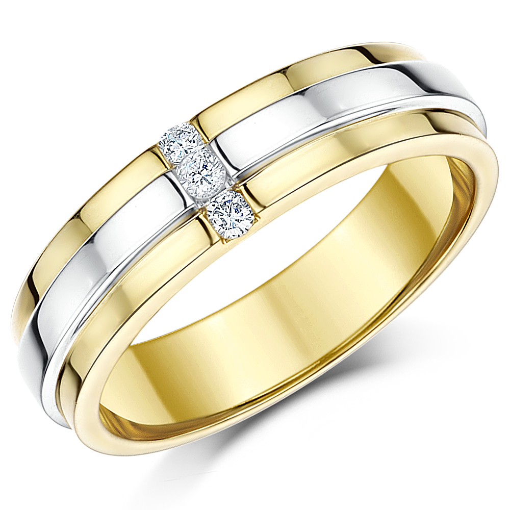 6mm 9ct Two Coloured Gold Diamond Wedding Ring Band