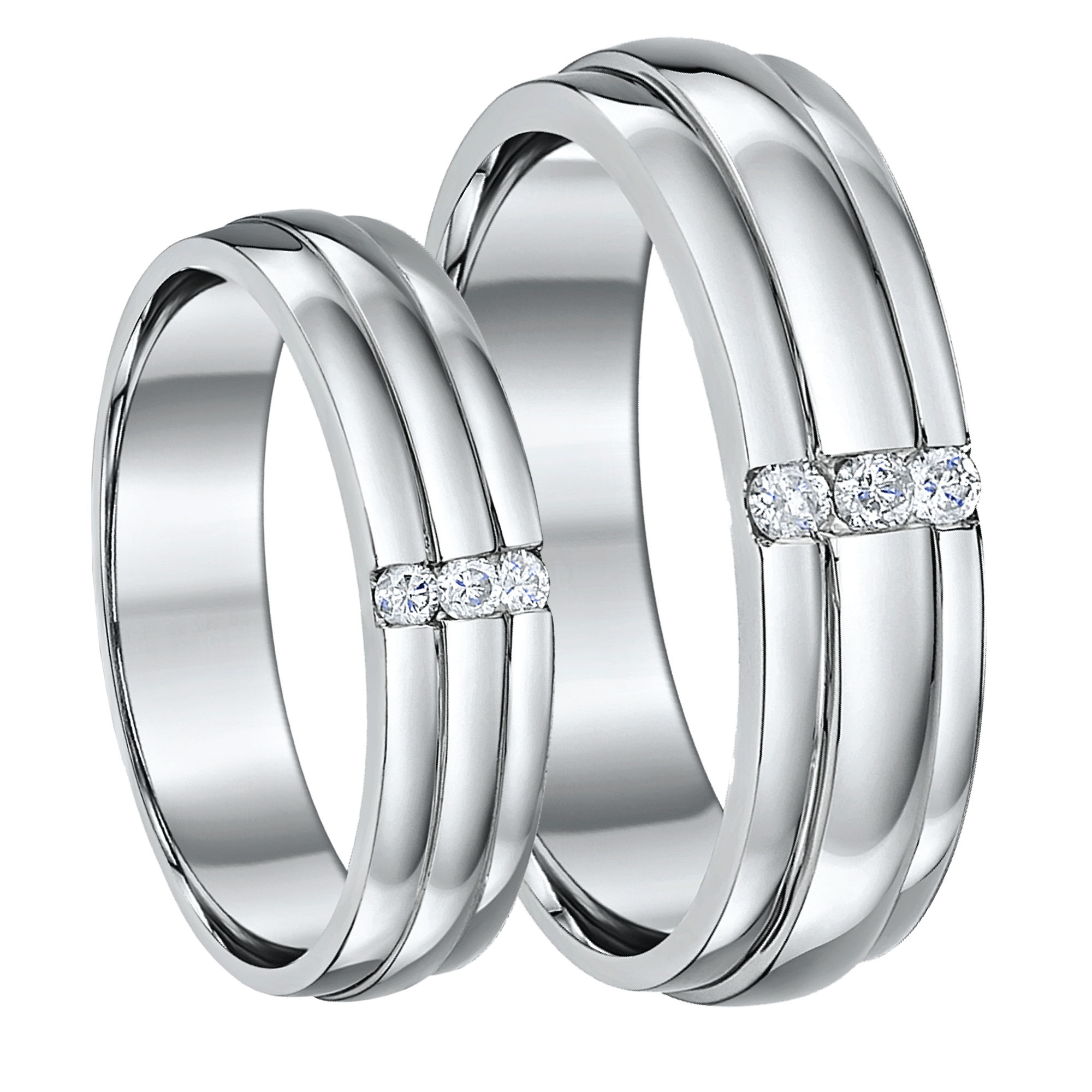 His & Hers Palladium Diamond Wedding Rings 5&6mm Grooved Three