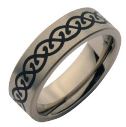 7mm Celtic Designed Titanium Wedding Ring