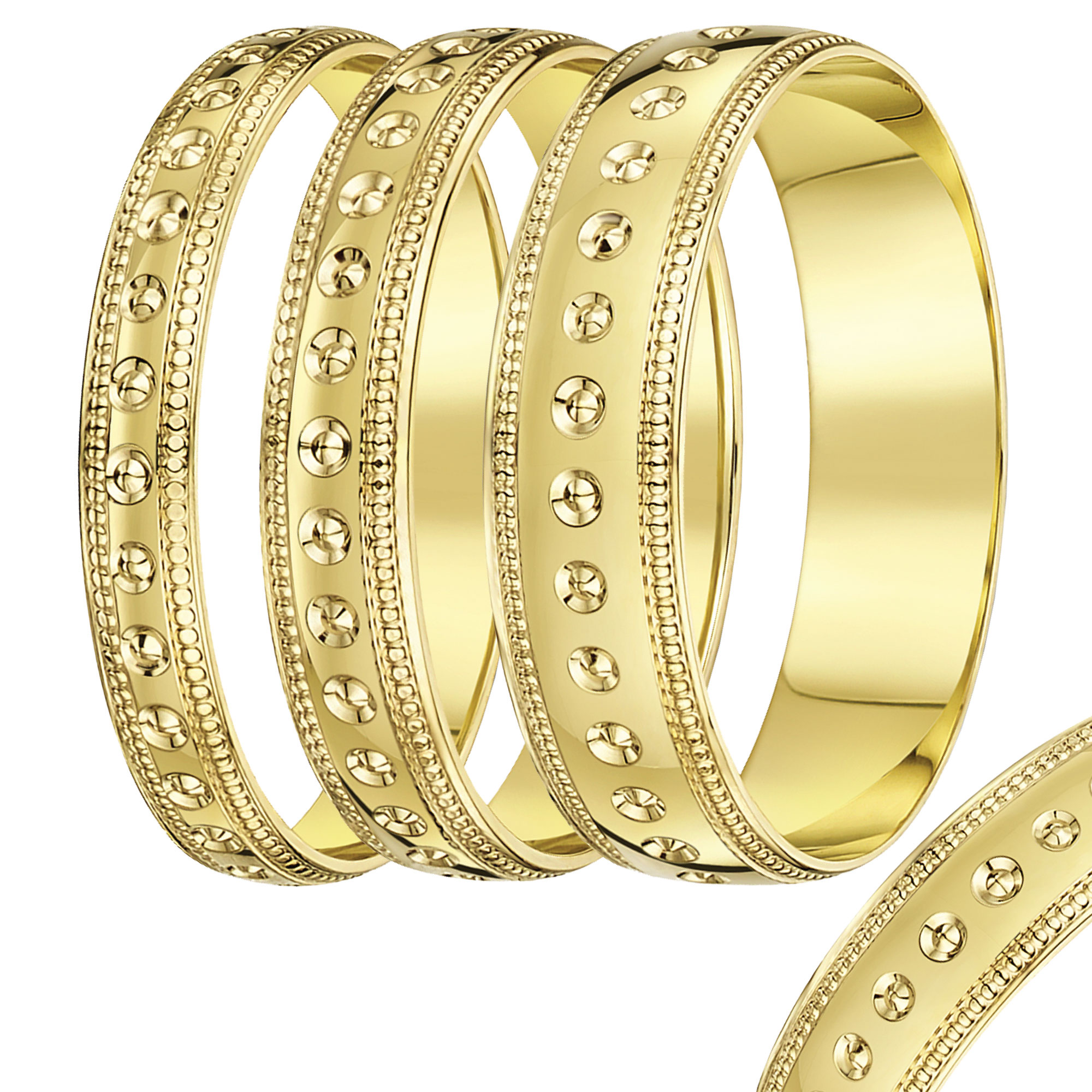 4mm-8mm Yellow Gold Dot & Millgrain Edge wedding rind band