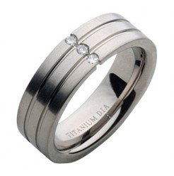 7mm Grooved Titanium Diamond Wedding Ring