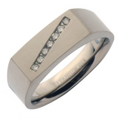 7mm Titanium Channel Set Signet Wedding Ring Band