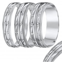4mm - 8mm White Gold Diamond Cut Beaded Edge Band