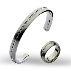 Titanium Gift Set Titanium Bangle and Titanium Wedding Ring Band