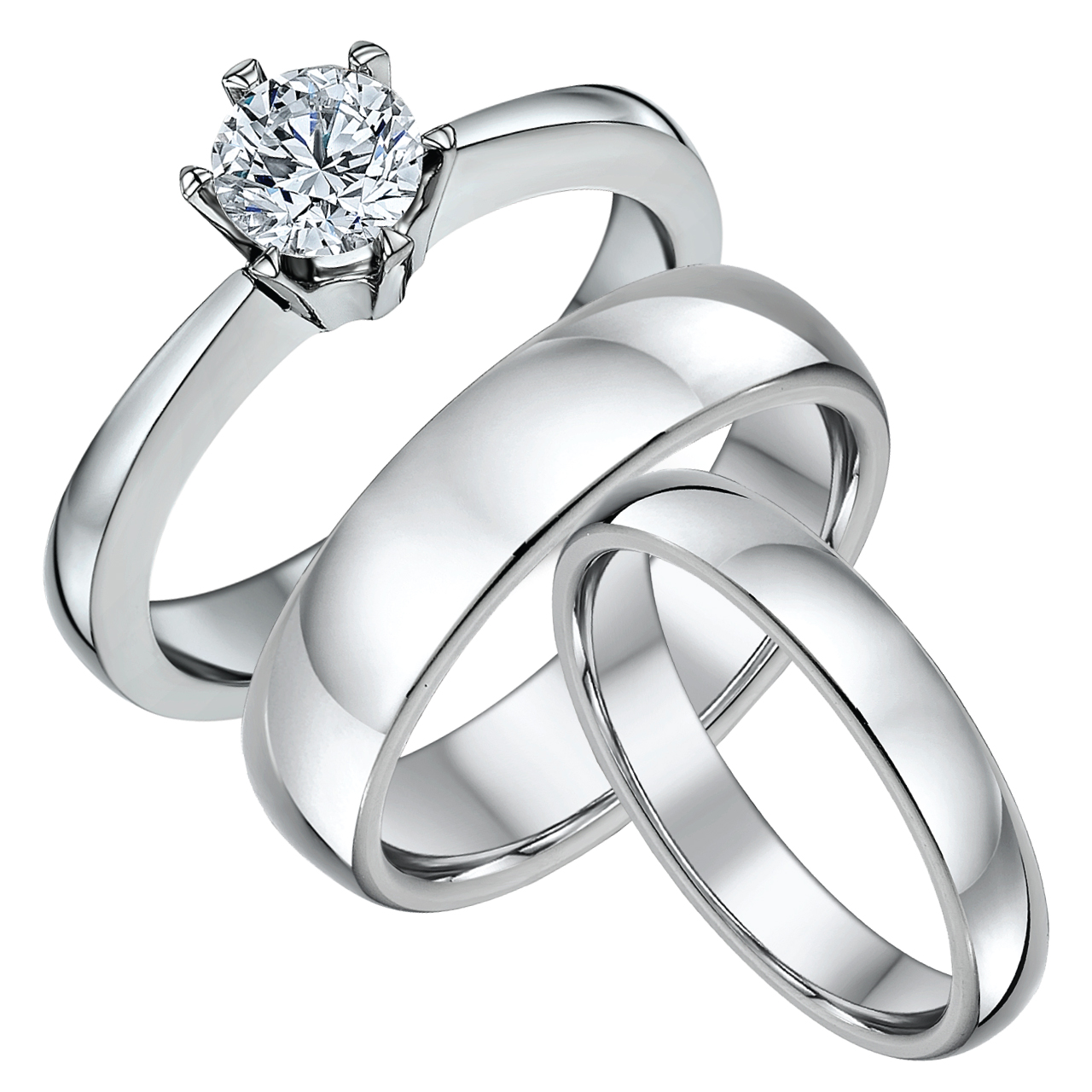 His & Hers Classic Solitaire Engagement & Wedding Bands 4&6mm
