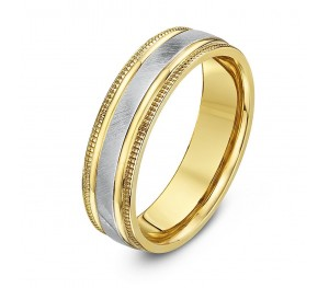 5mm Two Colour 9ct Yellow & White Gold Wedding Ring Band