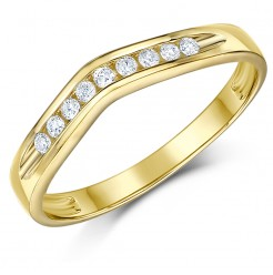 3mm 9 carat Yellow Gold Wishbone Diamond Set Wedding Ring