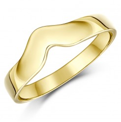 18ct Yellow Gold Curved Wishbone Wedding Ring Band