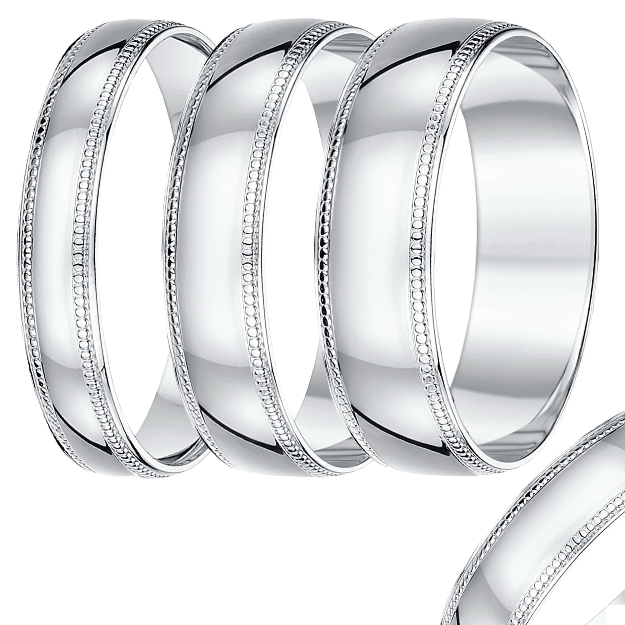 4mm-8mm White Gold Milgrain Wedding Band