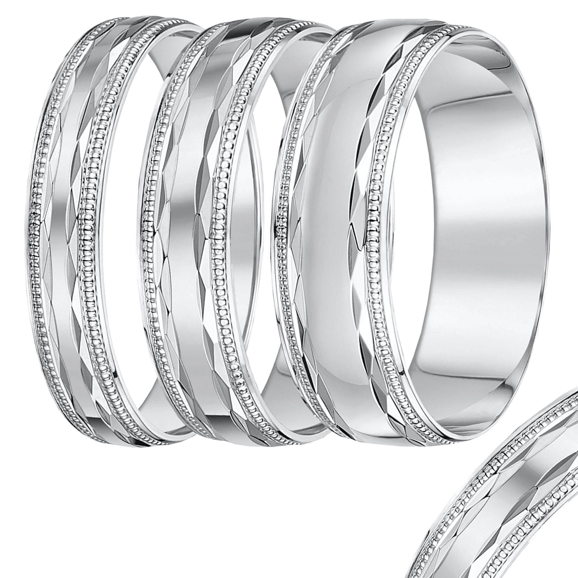 4mm-8mm White Gold Diamond Cut Band
