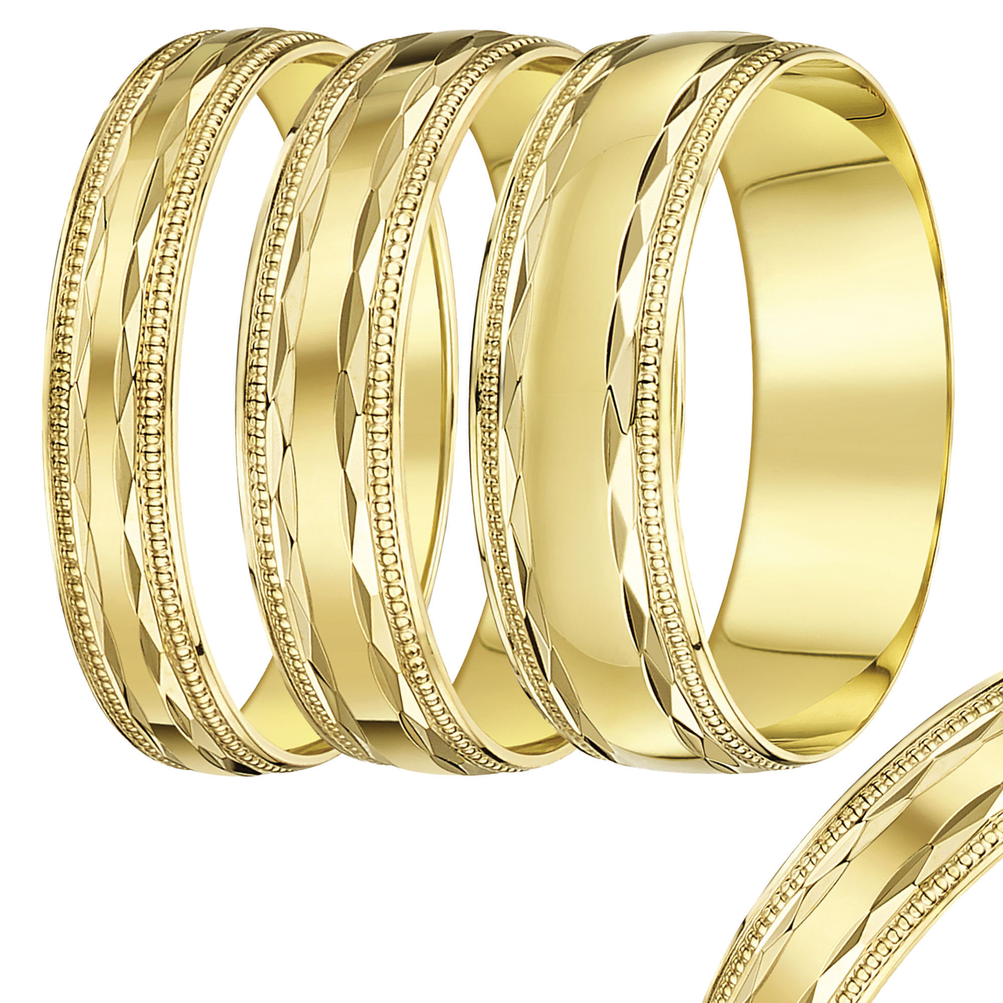 4mm-8mm Yellow Gold Beaded Edge Band