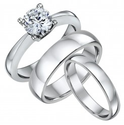 His & Hers Solitaire Engagement & Court Wedding Bands 4&6mm