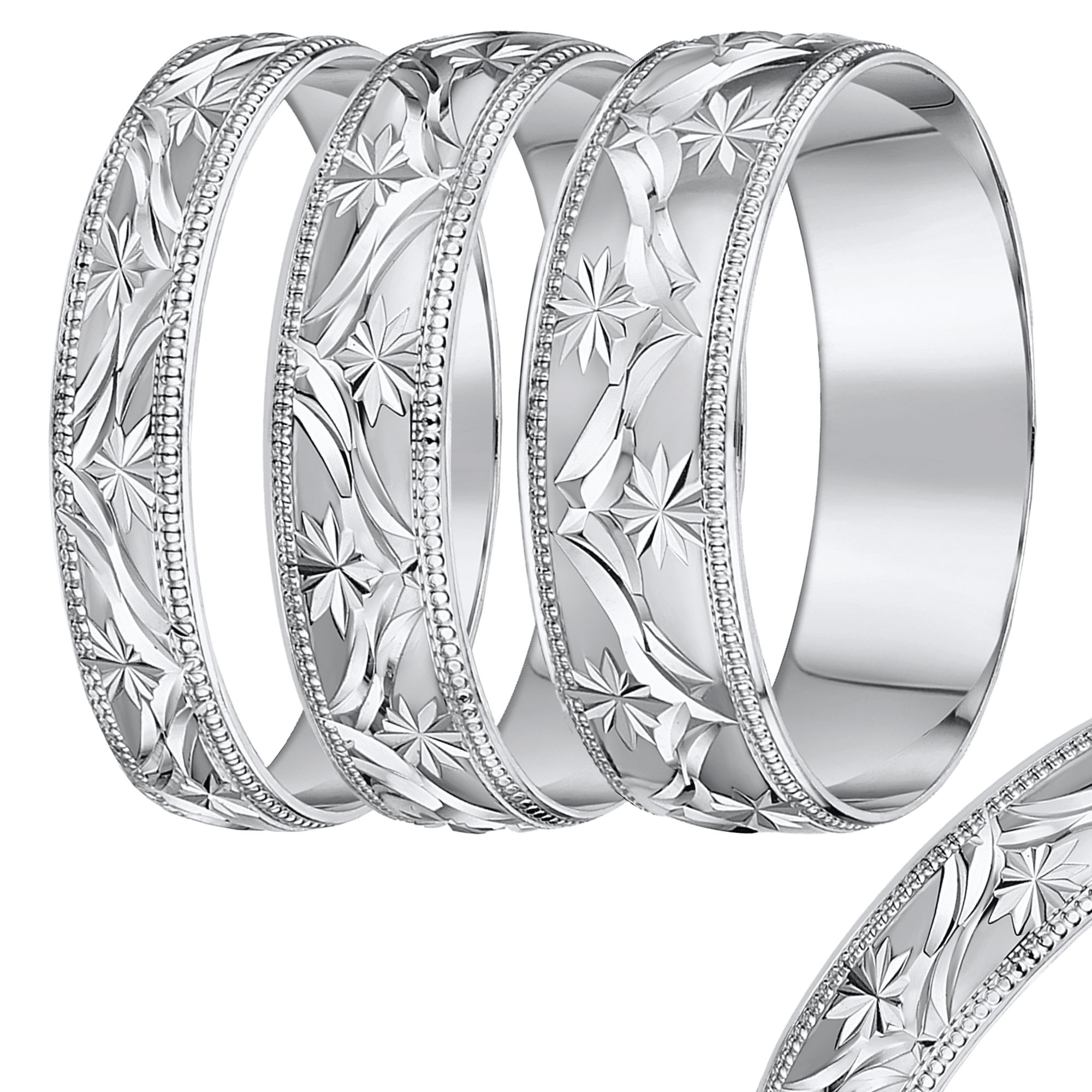 D Shape Leave Design White Gold wedding rind band 4mm-8mm