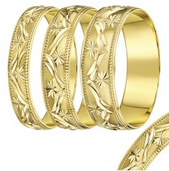 4mm-8mm Yellow Gold Leave Design wedding rind band