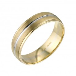 6mm 18ct Two Colour Gold Wedding Ring