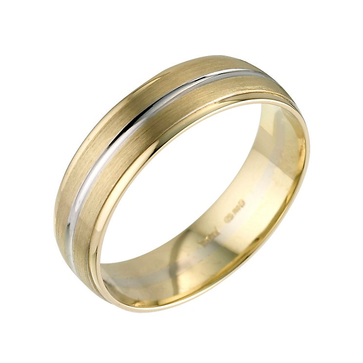 6mm 18ct Two Colour Gold Wedding Ring 18ct 2 Colour Gold at Elma