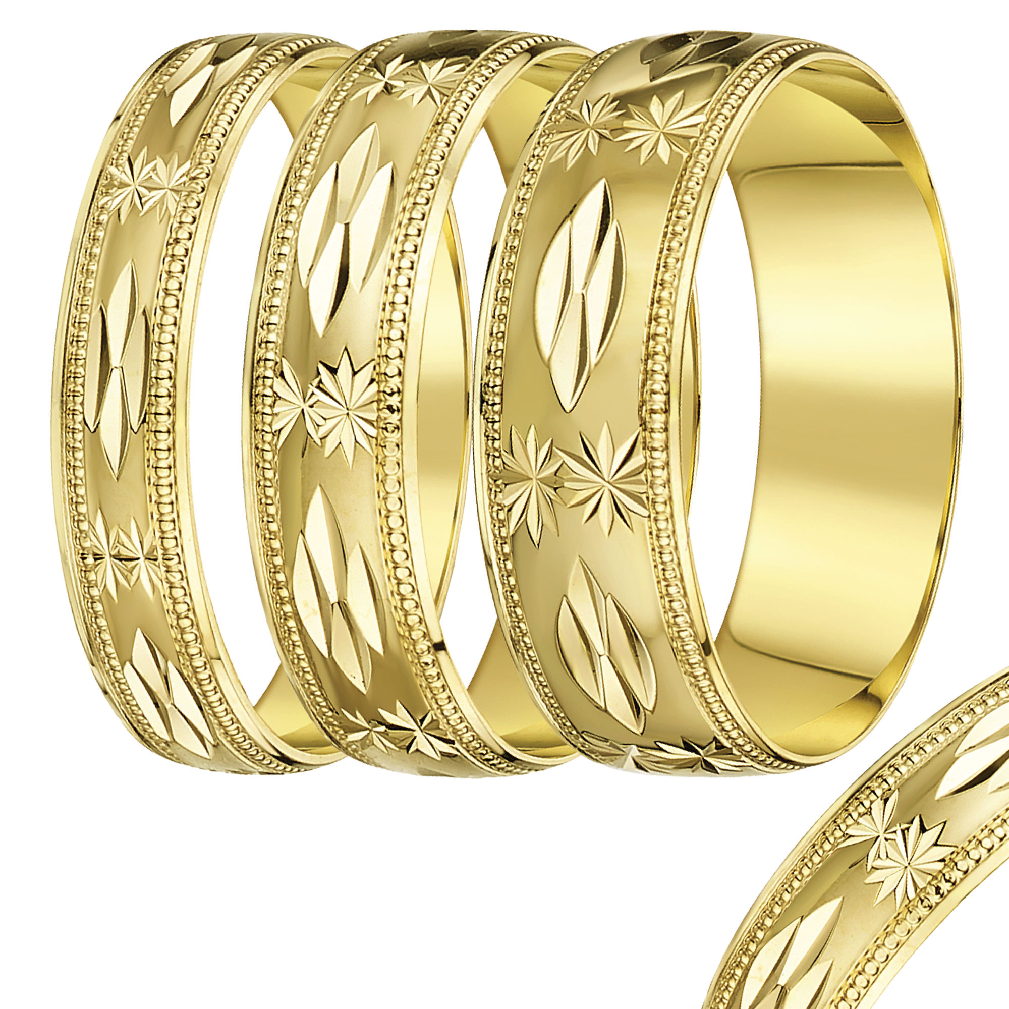 4mm-7mm Yellow Gold Star & Leaf wedding rind band