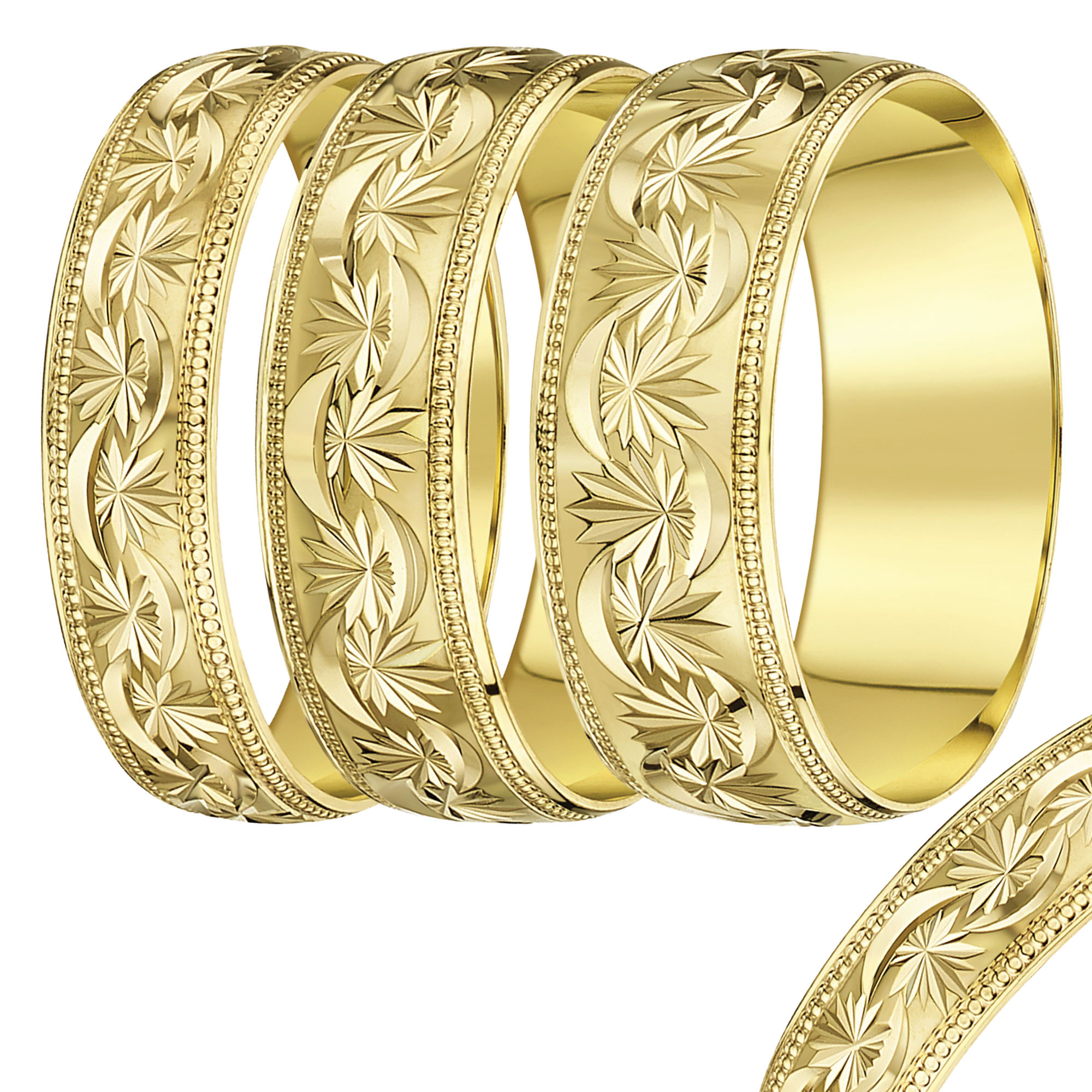 4mm-8mm Yellow Gold Star & Moon wedding rind band