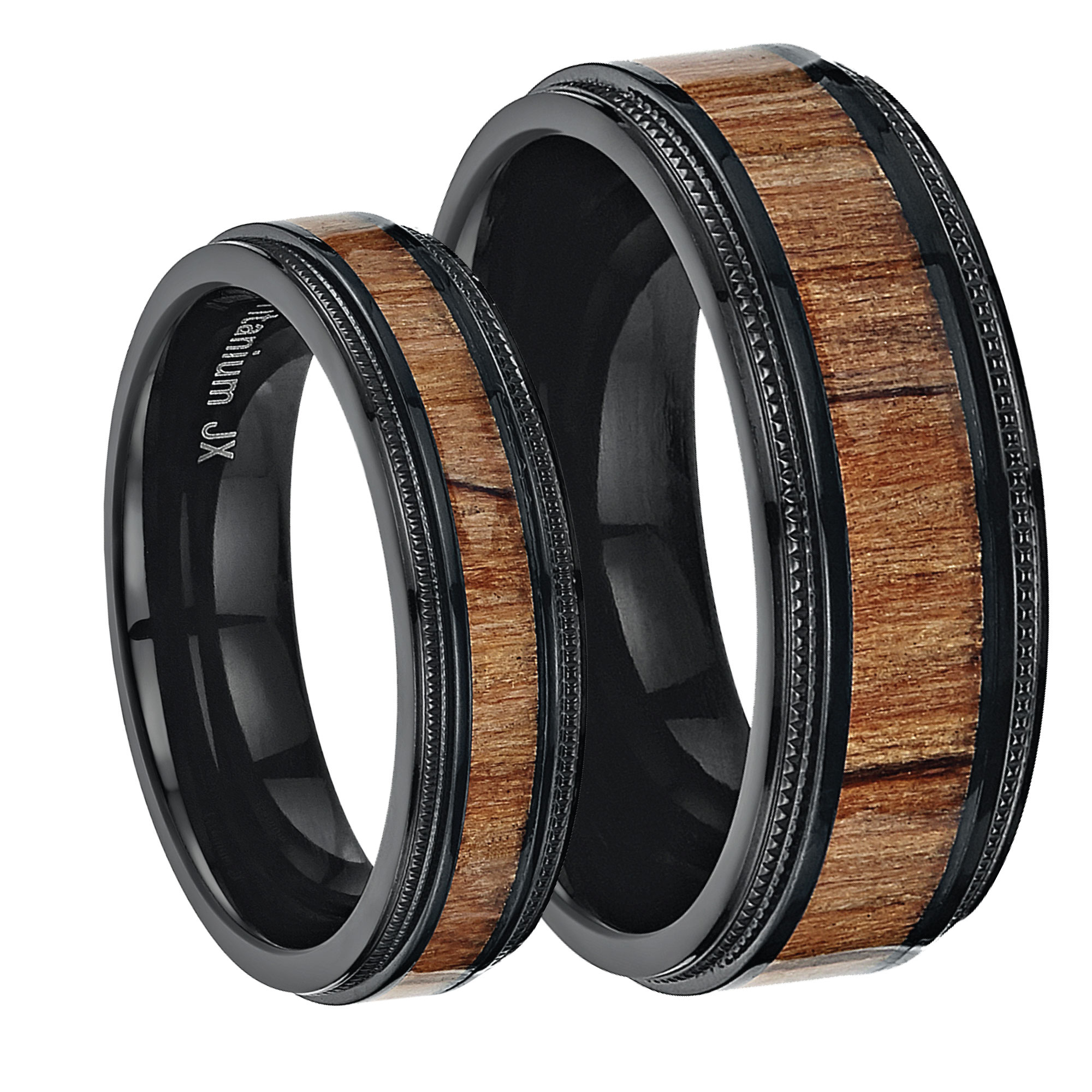 His & Hers Black Titanium Wedding Rings with Inlay Real Genuine Koa Wood