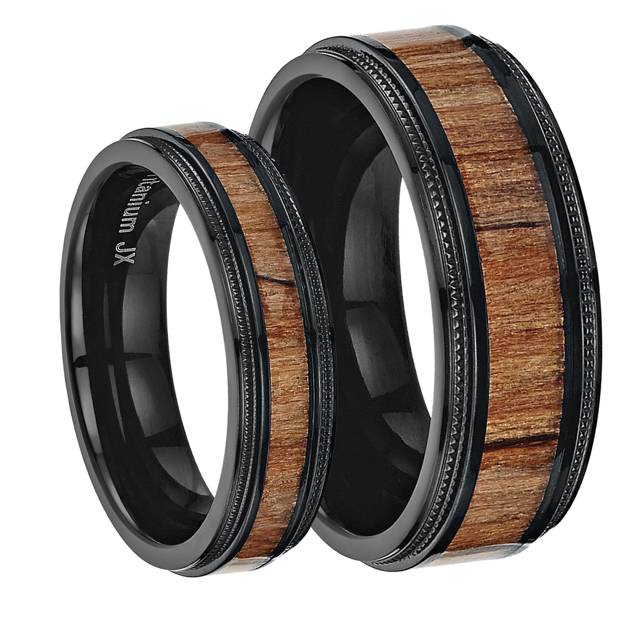 His & Hers Black Titanium Wedding Ring Band Set with Koa Wood Inlay