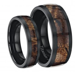 His & Hers Black Titanium Wedding Ring Band Set Inlayed with Koa Wood
