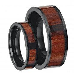 His & Hers Black Titanium Wedding Ring Band Set Inlayed with Koa Wood 6&8mm