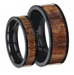 His & Hers Black Titanium Wedding Ring Band Set With a Inlayed Wood Pattern