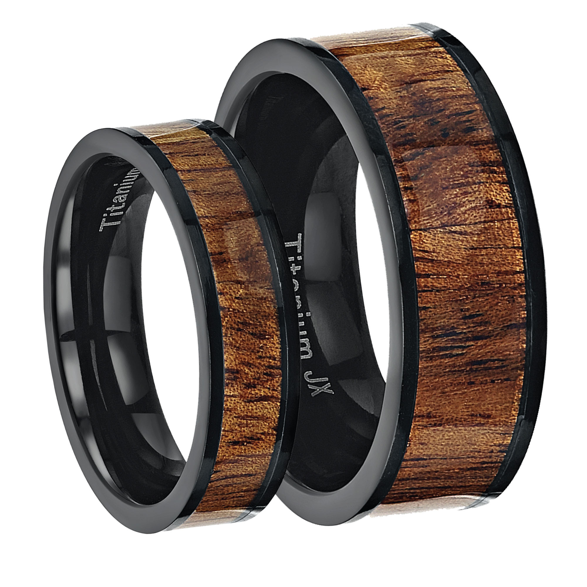 His & Hers Black Titanium Wedding Ring Band With Koa Wood Inlay 6&8mm