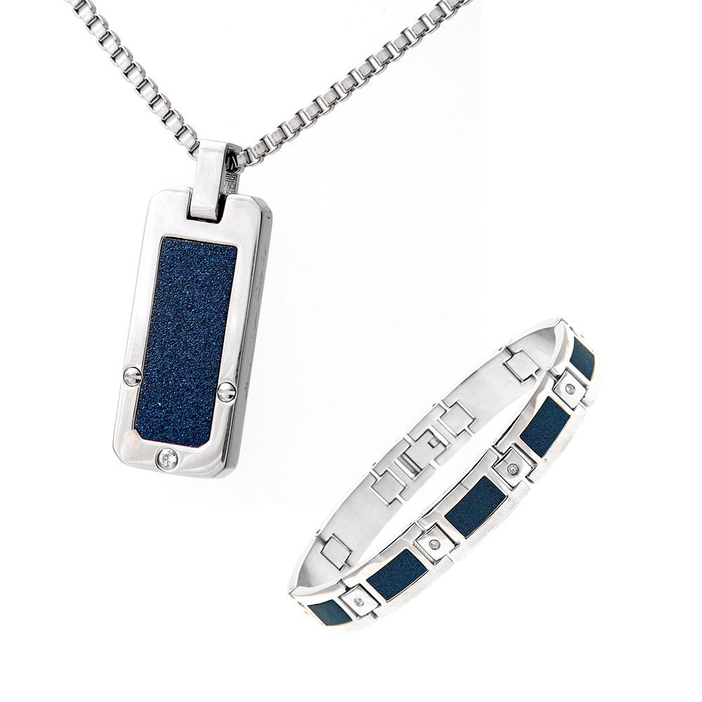 Mens Stainless Steel Blue Accent Cz Dog Tag & Bracelet Set