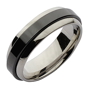 7mm Ceramic & Stainless Steel Court Shape Wedding Ring