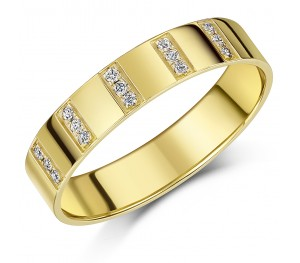 5mm Yellow Gold 9ct Channel Set Diamond Wedding Ring
