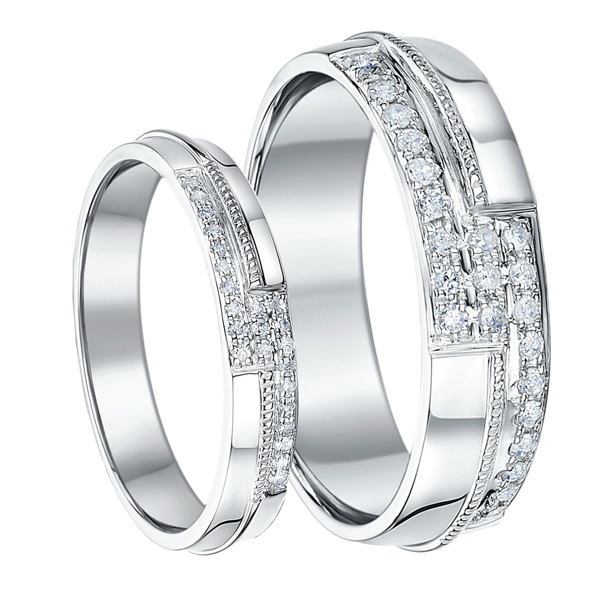 His & Hers 9ct White Gold 4mm and 6mm Diamond Rings White Gold