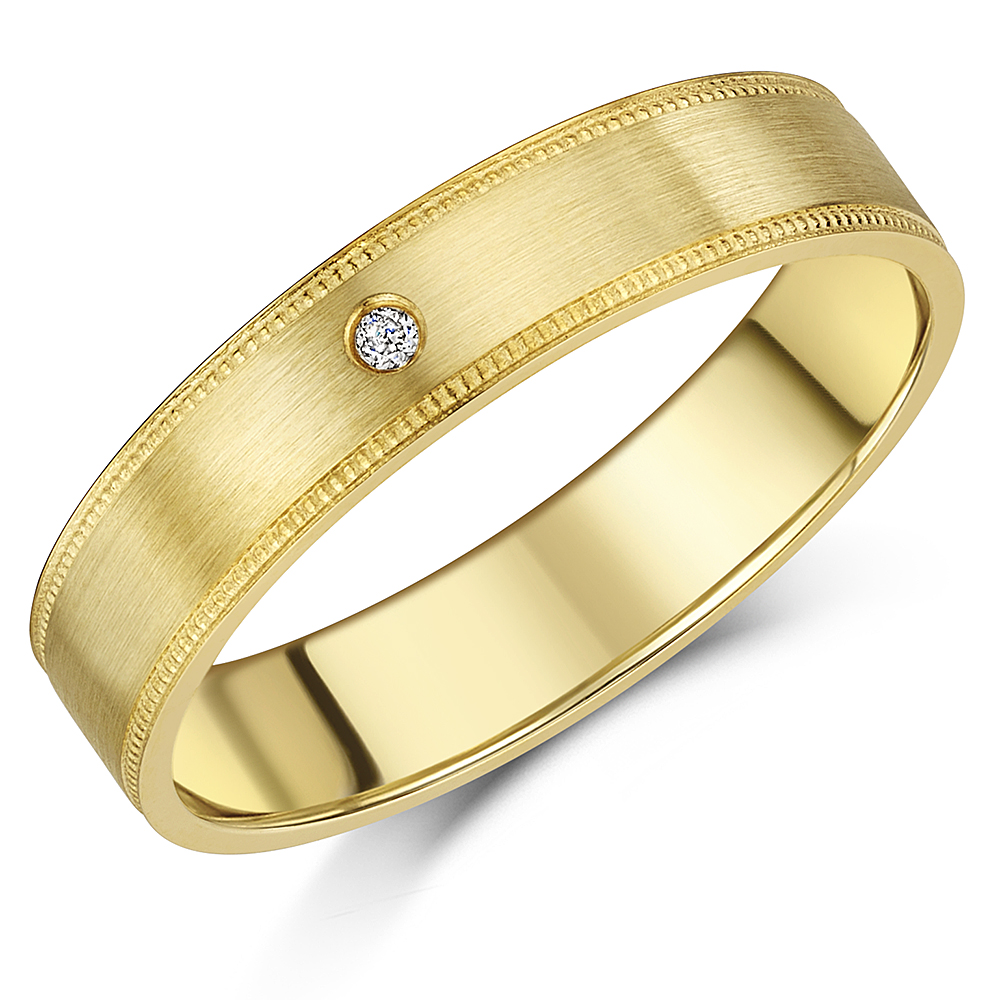5mm Brushed Matt 9ct Yellow Gold & Diamond Wedding Ring with Milgrain Edgin