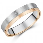 5mm Two Colour 9ct Gold and Diamond Flat Court-Shaped Wedding Ring