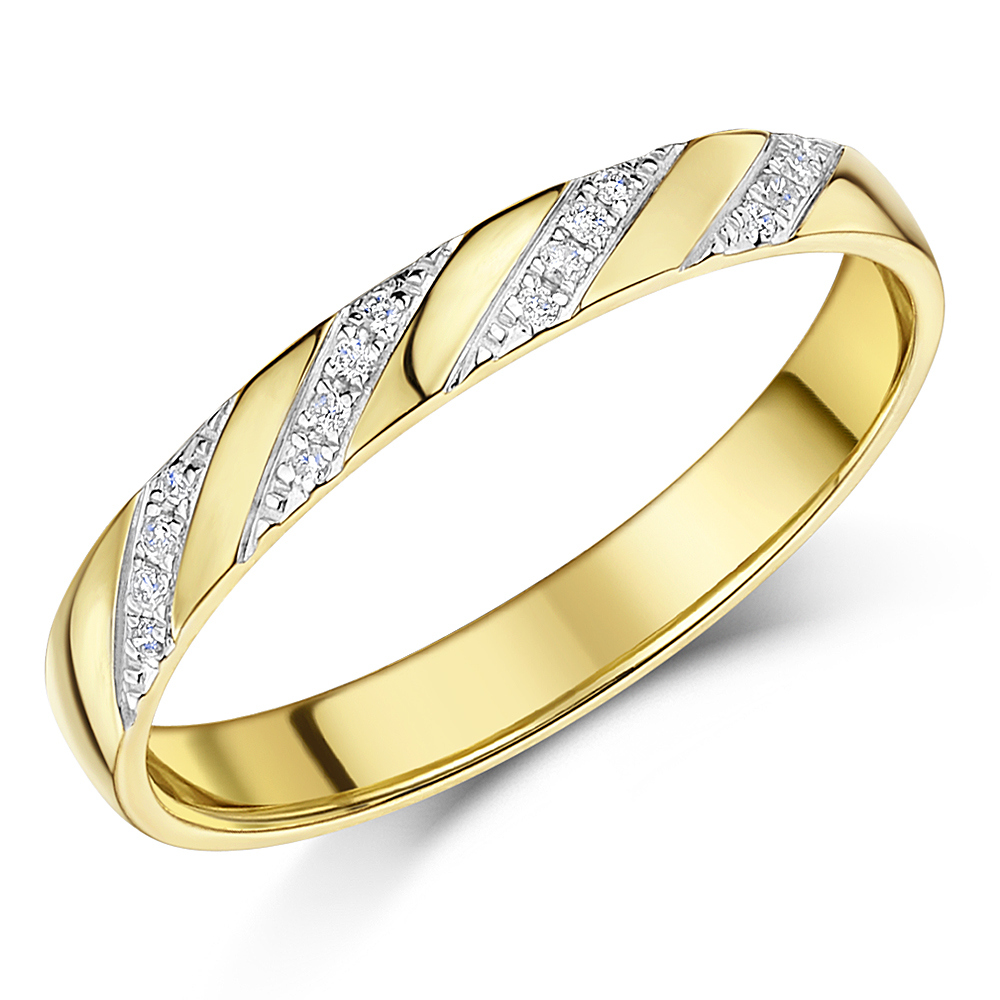 3mm 9ct Yellow Gold 0.08ct Diamond Diagonal Set Ring