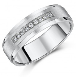 6mm White Gold 9ct Flat-Shaped Channel Set Diamond Wedding Ring