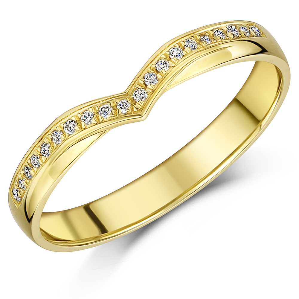 3mm Yellow Gold 9ct Romantic Wishbone Shaped Diamond Ring