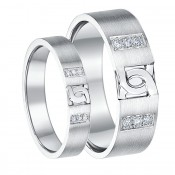 His & Hers Sterling Silver Diamond D Link Design Wedding Ring