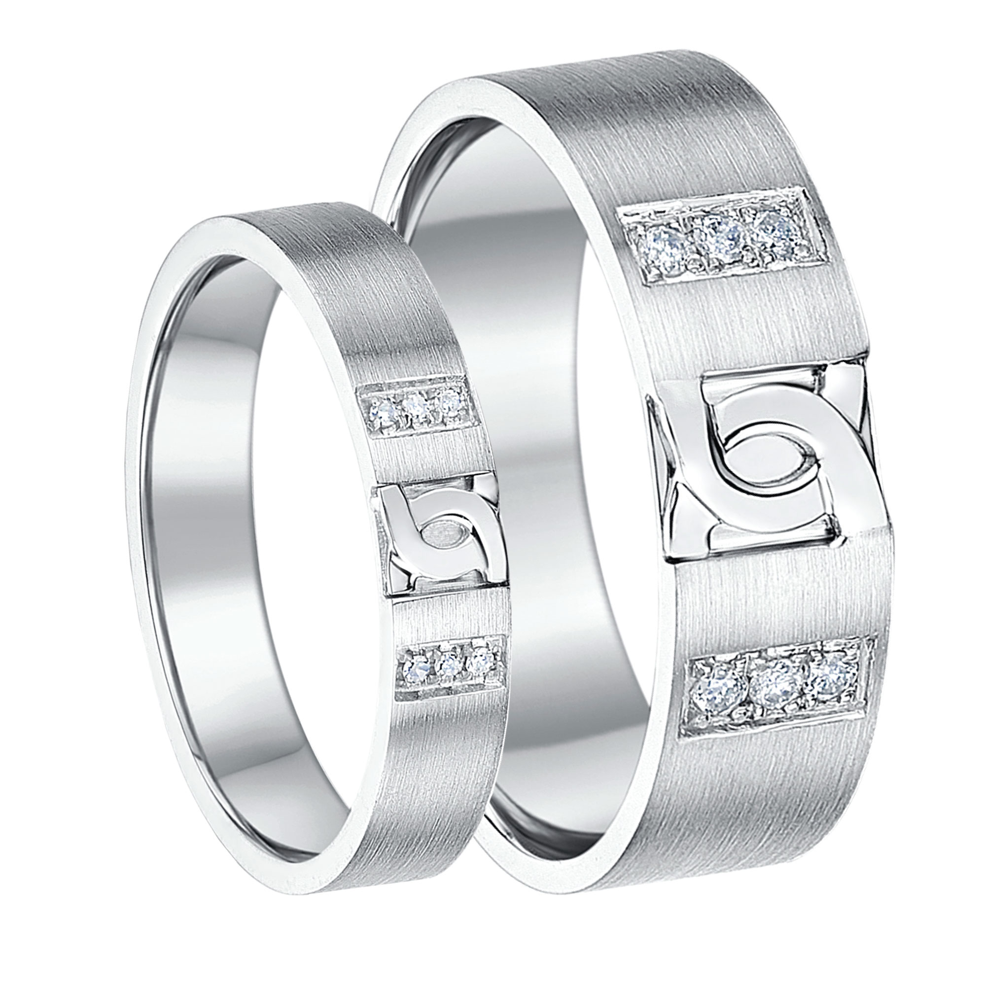 band patterned slant borsheims wedding tungsten rings