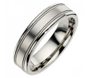 6mm Titanium Millgrain Satin Design Wedding Ring Band