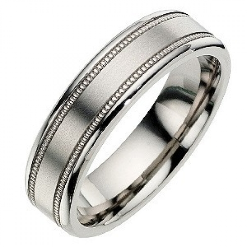 ''Sale'' 6mm Titanium Millgrain Satin Design Wedding Ring Band