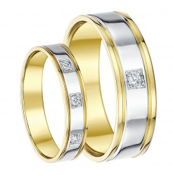 18ct Two Colour His & Hers Diamond Engagement Wedding Rings
