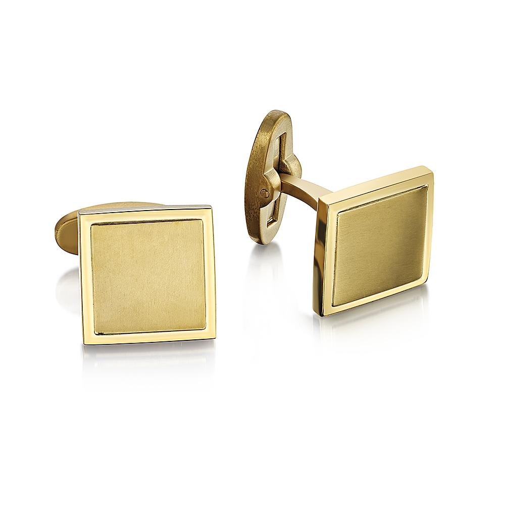 Men's Gold Titanium Square Cufflinks