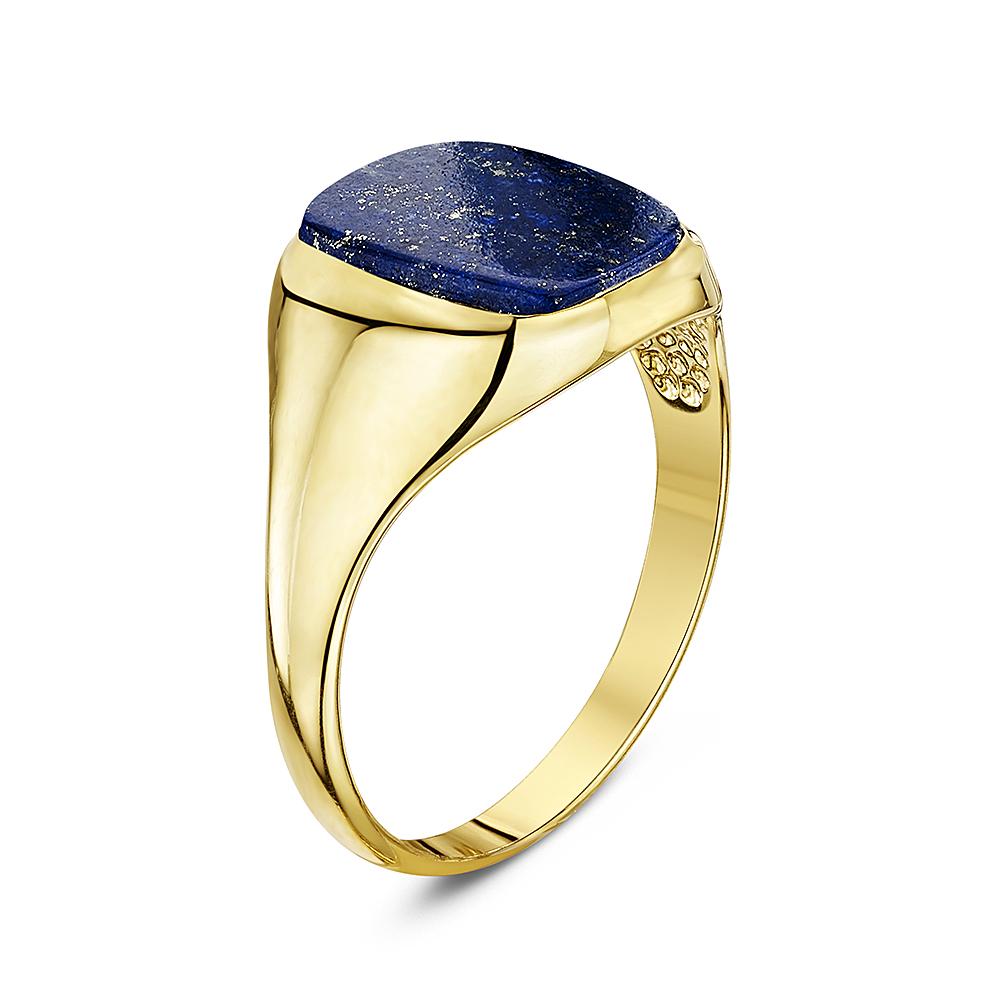 Men S 9 Ct Yellow Gold Cushion Shape Lapis Signet Ring