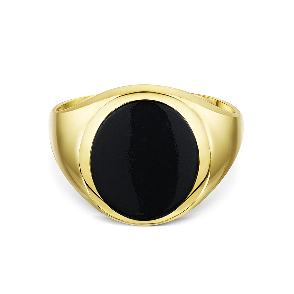 Men S 9 Ct Yellow Gold Oval Shape Onyx Stone Signet Ring