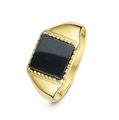 9 ct Yellow Gold, Square Shape Hematite Stone Signet Ring