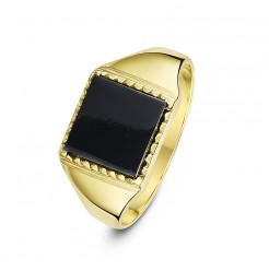 9 ct Yellow Gold, Square Shape Onyx Stone Signet Ring