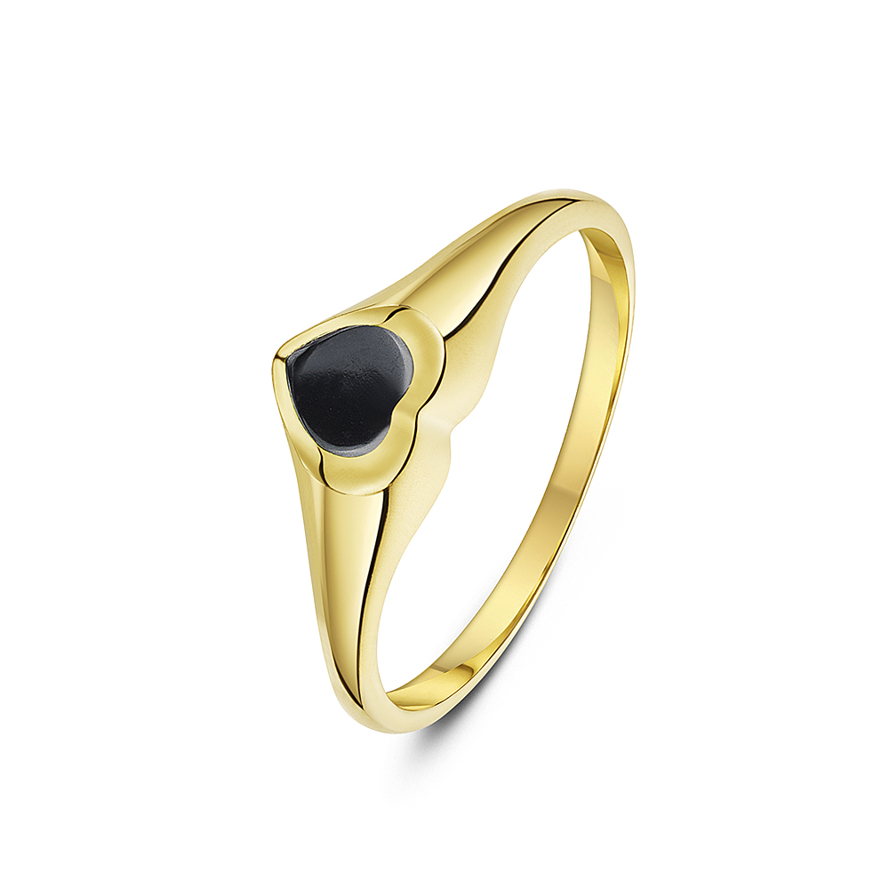 Women's 9 ct Yellow Gold, Heart Shape Hematite Signet Ring