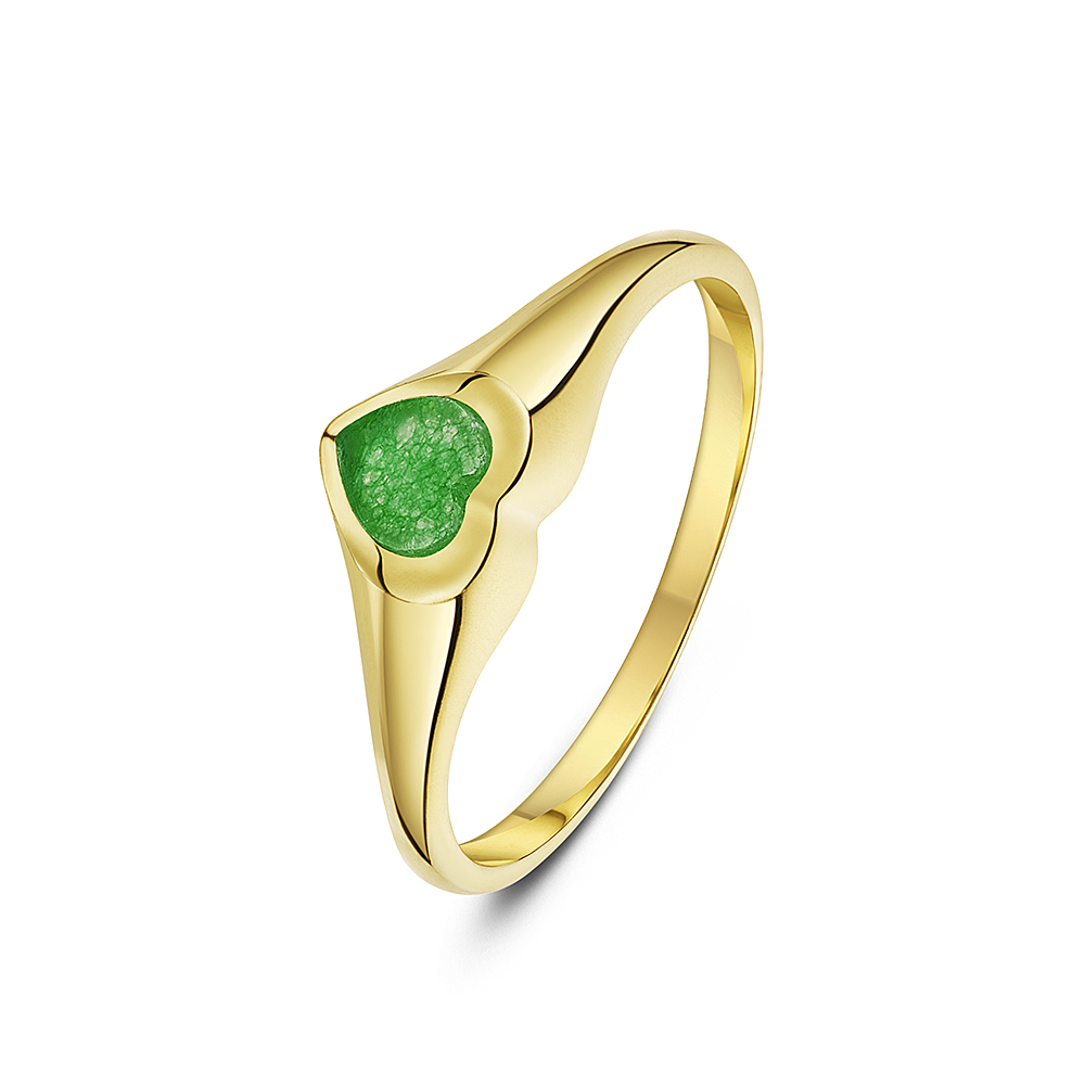 Women's 9 ct Yellow Gold, Heart Shape Jade Signet Ring