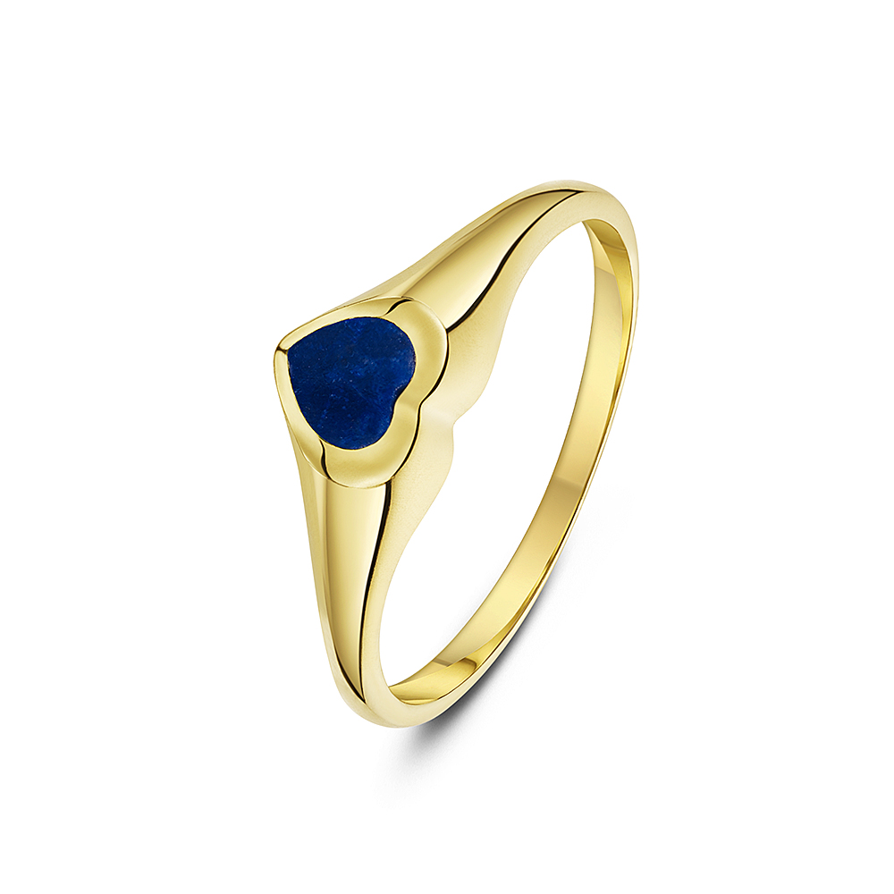 Women's 9 ct Yellow Gold, Heart Shape Lapis Signet Ring